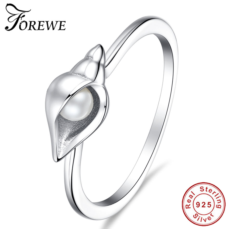 Forewe Simple 925 Sterling Silver Conch Shell Ring For Women Fine S925  Jewelry Gift Friendship