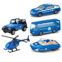 5 Pcs/lot Kids Police Cars Toys Models 1:72 Scale Alloy Diecasts Toys Sports Vehicles Bus Speedboat Helicopter Off-road Car Y020(China)