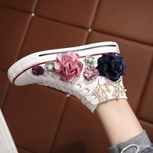 Sweet Flowers Women Canvas Shoes Flat Shoes Women High Top Manual 2019 New Pearl Ladies Canvas Sneakers Sport Student Shoes original vans new arrival high top women s black and wthite mskateboarding shoes sport shoes canvas shoes sneakers free shipping