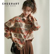 CHEERART – chemise à manches longues pour femmes, Vintage, imprimé, col boutonné, rétro, haut et chemisier, ample, surdimensionné