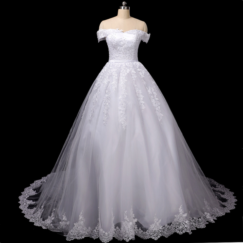 Vestido De Noiva 2020 Lace Gowns Wedding Dress Robe Princess Mariage Plus Size Long Train Tulle Mariage Bridal Wedding Gowns
