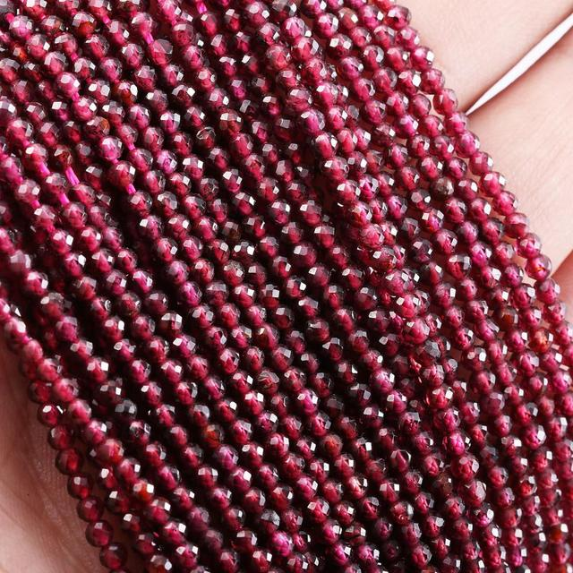 Natural Stone Beads Small Beads Faceted Garnet 2,3,4,5mm Section Loose Beads for Jewelry Making Necklace DIY Bracelet (38cm)