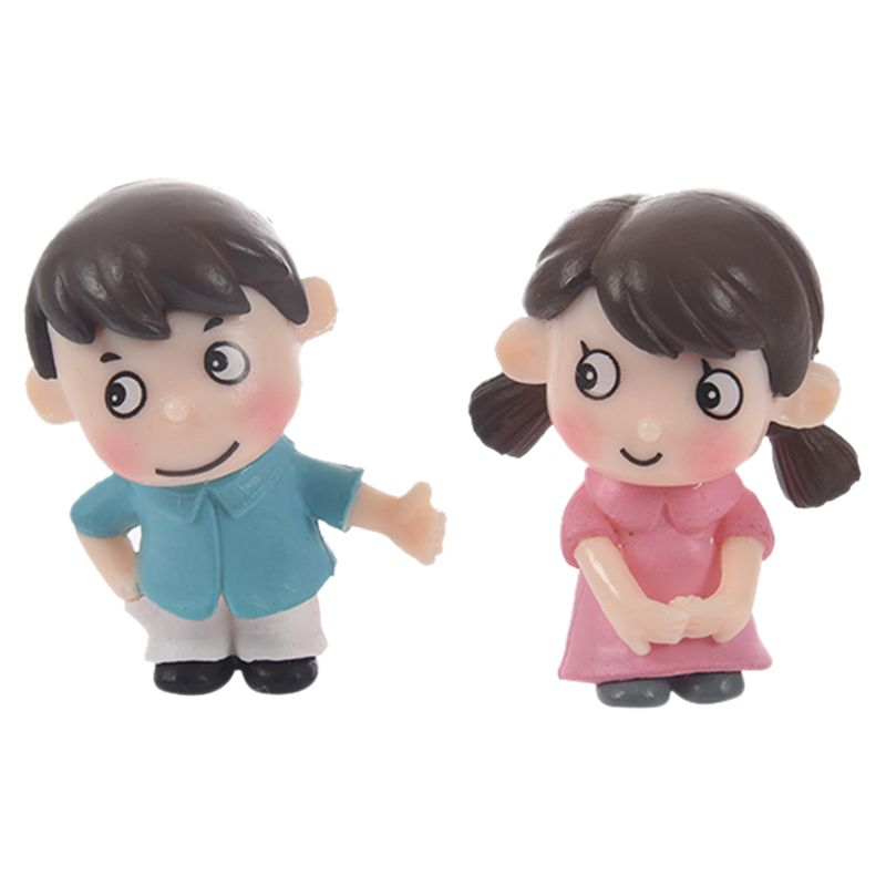 2Pcs Sweety Kids Couple Figurines Miniatures Fairy Garden Gnome Moss Terrariums Resin Crafts Decoration Accessories For DIY (Siz