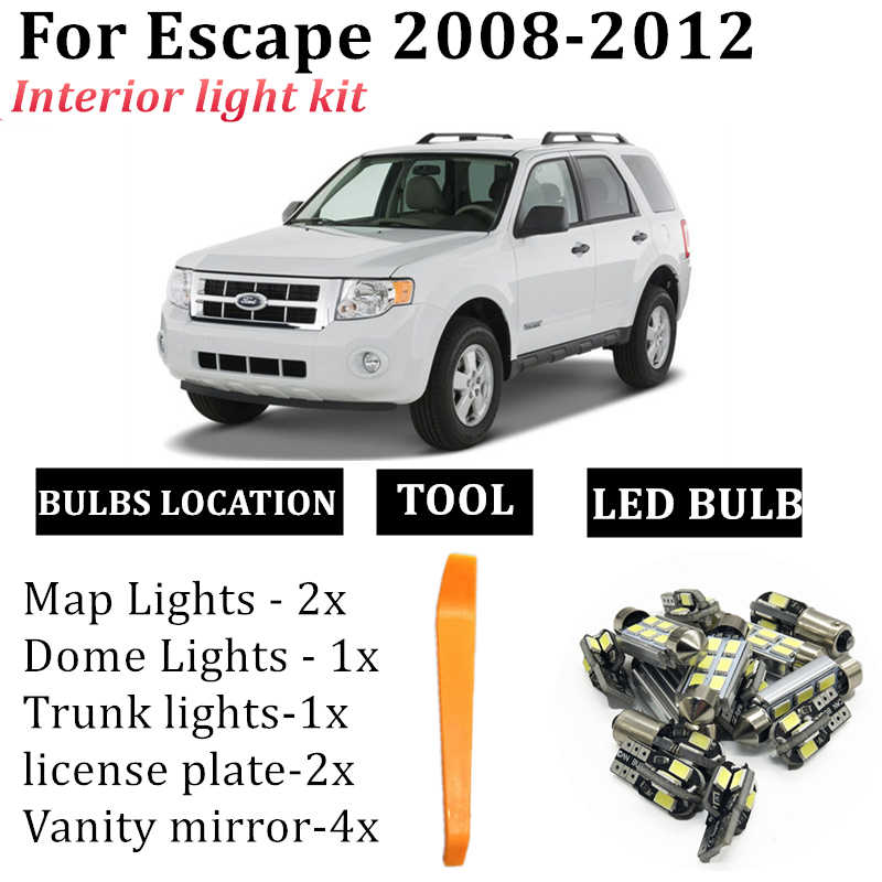 No Sunroof 13 Bulb Cool White LED Interior Light Kit For Ford Escape 2008-2012