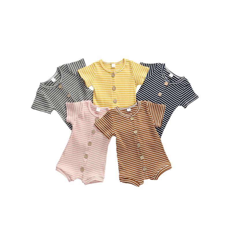 Newborn Baby Boy Girls Outfit Clothes Rompers Jumpsuit Shorts One-Piece Short Sleeve Button Rompers O Neck Striped Baby Jumpsuit