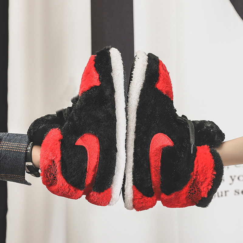 2020 Sneaker Slippers Cotton Home Slippers Women Warm Indoor Slippers Men Striped Bread Shoes Cut Fat Shoes One Size 35-43