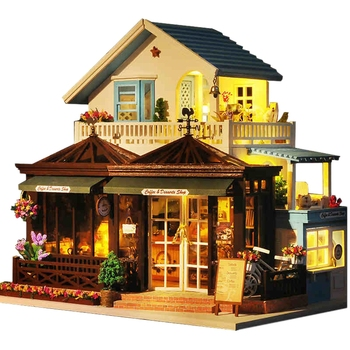 IIECREATE Large Coffee Wooden Doll House Manual Assembling Model Toys Diy Wooden Hut House With Led Light Small Tools Birthday