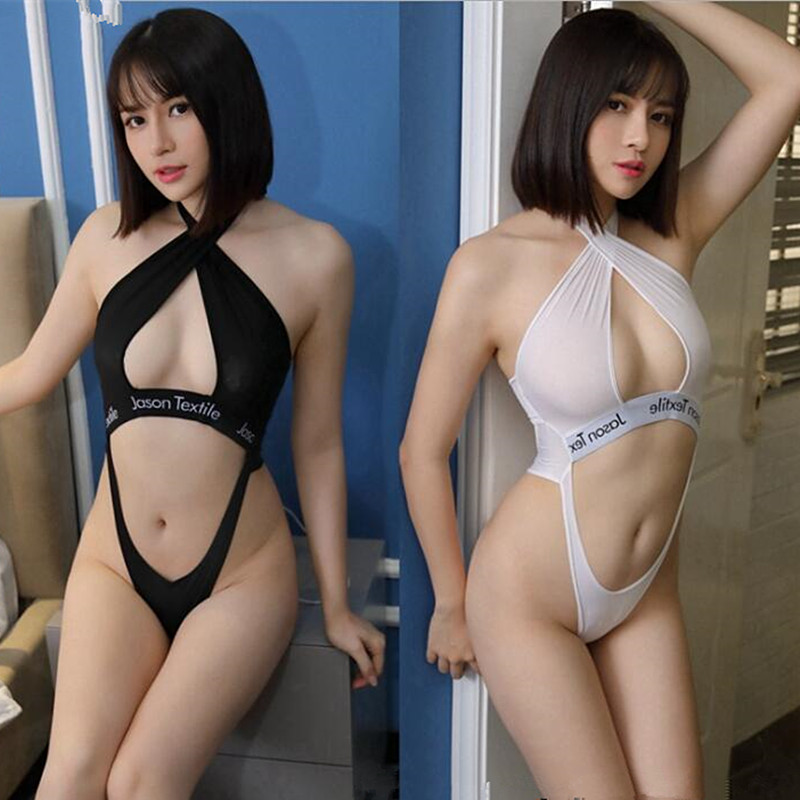 Japanese Korean <font><b>Sex</b></font> Uniform High Slit Onesies <font><b>Bikini</b></font> Tights Erotic Babydoll image