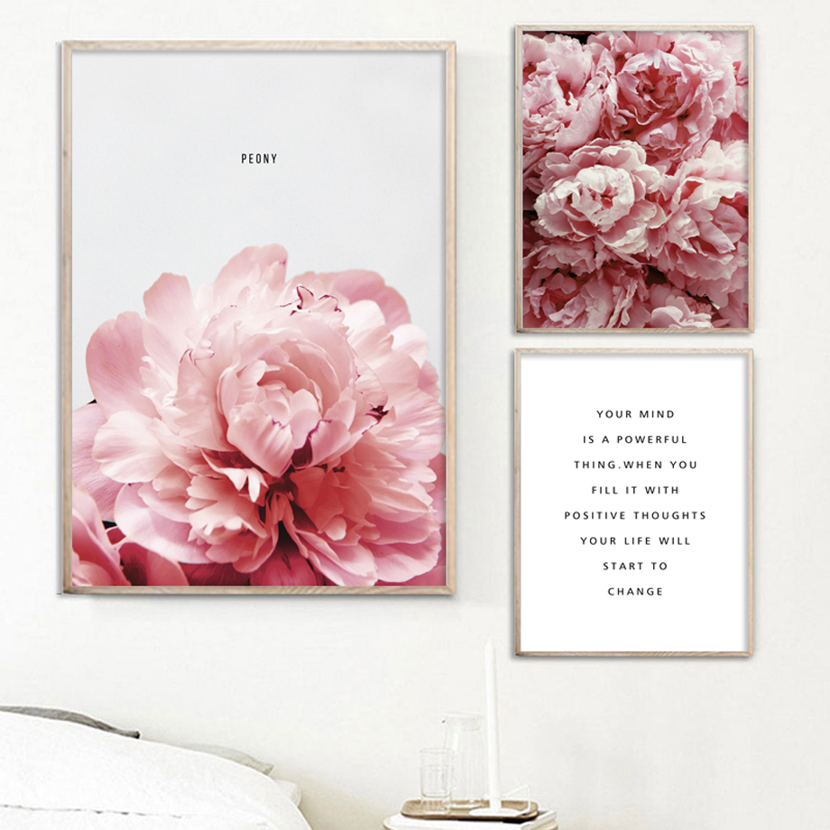 Nordic Poster Painting Peony Canvas Prints Modern Pictures Flower Plant Letter Wall-Art