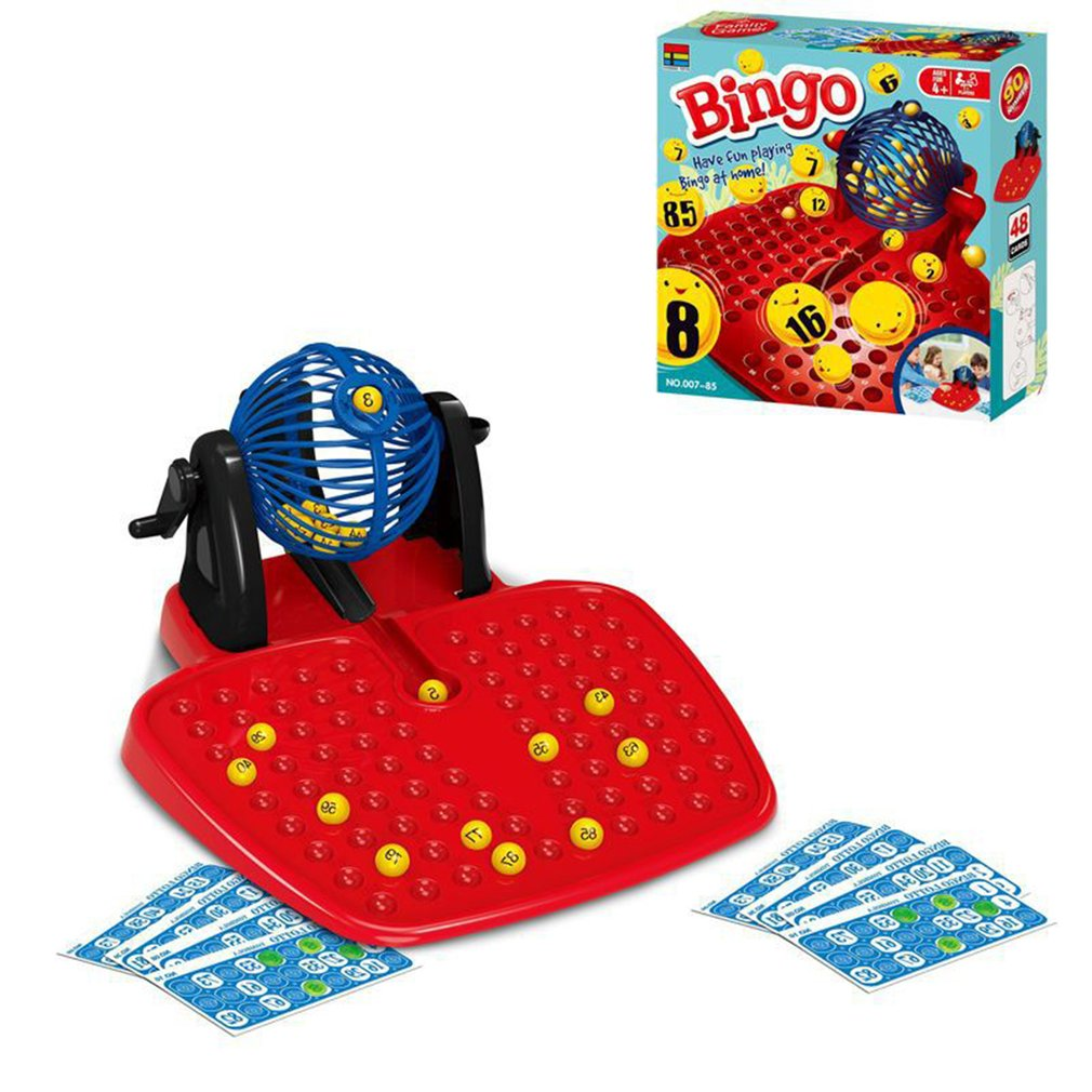 Bingo Tumbler Lotto Lottery Machine 90 Numbered Balls 48 Cards Family Game Perfect Kids Gifts Funny Game Toys