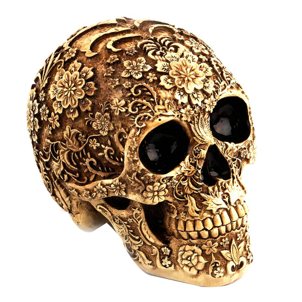 US $9.9 9% OFFDelicate Flower Skull Ornaments Horror Resin Skull Bone  Skeleton Skull Decor Home Bar Table Halloween Decor Event Party