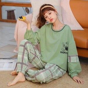 Image 5 - ملابس النساء المنزل القطن الكورية نمط الخريف الربيع ملابس خاصة الحد الأدنى نمط البرتقال بنطلون الوردي الأعلى القطن الفتاة منامة مجموعة