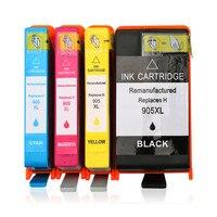 Cartucho de tinta colorink para hp 905xl 905 xl cartuchos de tinta hp905 hp officejet pro 6960 6970 6950 tinta de impressora (1bk * 1c * 1m * 1y)