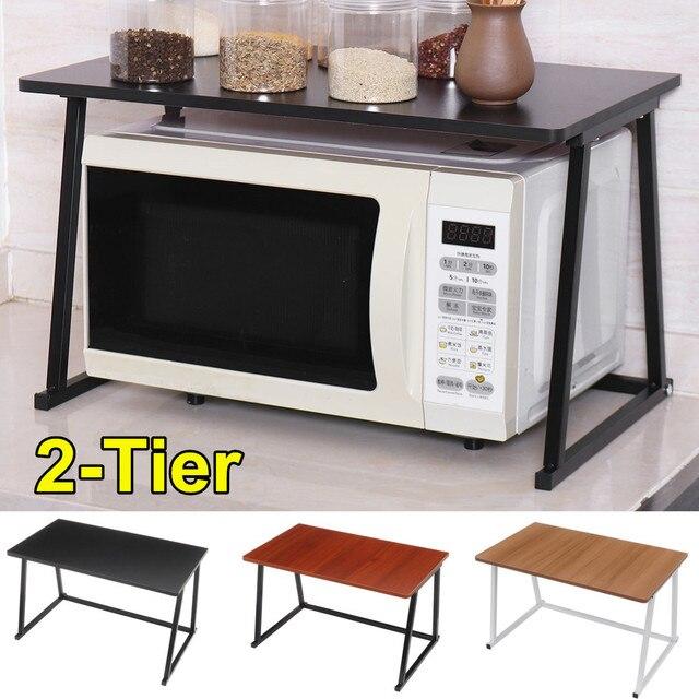 2-Tier Microwave Oven Rack Carbon Steel Kitchen Supplies Stand Kitchenware storage Space Saving Shelf Kitchen Organizer Holder