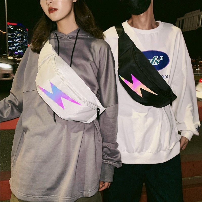 Reflective Lightning Fanny Pack Harajuku 2019 Women's Waist Bag Belt/bum Bag Men Chest Packs Hip-Hop Pouch For Travel Dailylife
