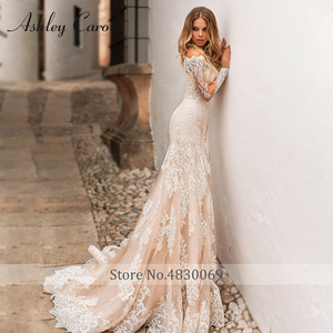 Image 4 - Detachable Mermaid Wedding Dresses 2020 With Jacket 2 In 1 Boat Neck Full Sleeve Appliques Lace Up Bridal Gown Vestido De Noiva