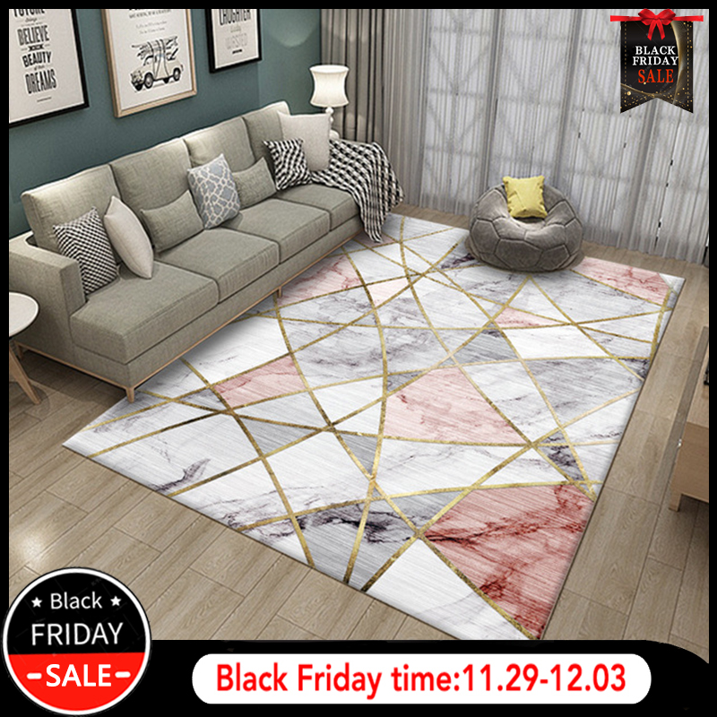 RFWCAK Nordic Marble Carpet for Living Room Area Rugs Anti-slip badroom Large Rug Coffee Table Mat Bedroom Yoga Pad Home Decor image