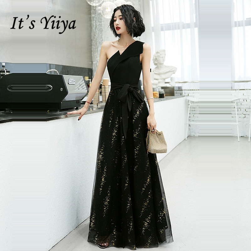 It's Yiiya Black Formal Dress One Shoulder Evening Dress 2020 Sleeveless Plus Size Sequined Zipper Floor Length Dress K370