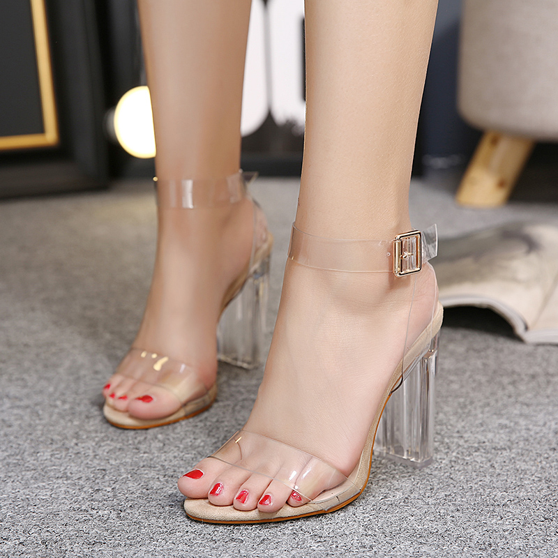 Купить с кэшбэком NIUFUNI Women's Sandals Ankle Strap High Heels PU Clear Crystal Transparent Classic Buckle High Quality Women Shoes Size 34-42