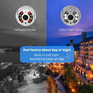 Image 2 - Câmera de vigilância externa IP WiFi, CCTV 1080P HD 3MP 4X Zoom PTZ, luz IR, com áudio e cores, detecção IA com alerta de segurança