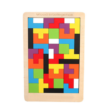 Colorful 3D Puzzle Wooden Tangram Math Toys Tetris Game Children Pre-school Magination Intellectual Educational Toy for Kids 2