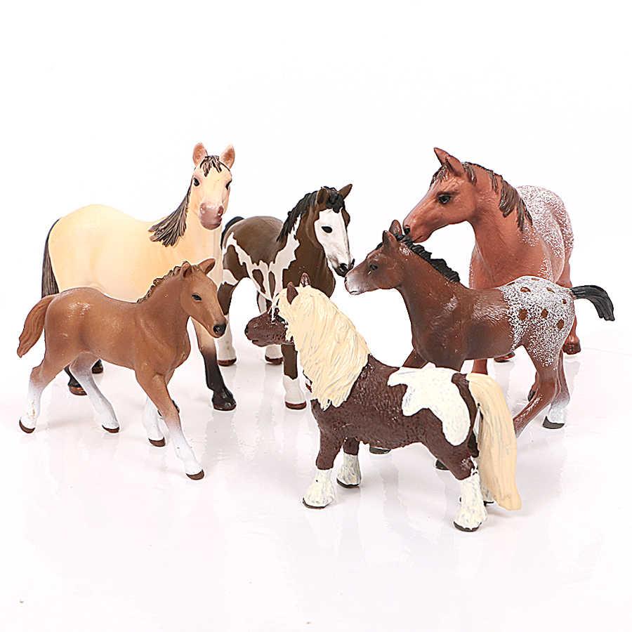 Animais de fazenda modelos de cavalos appaloosa harvard hannover clydesdale trimestre árabe cavalo figuras de ação uma peça educação brinquedo do miúdo