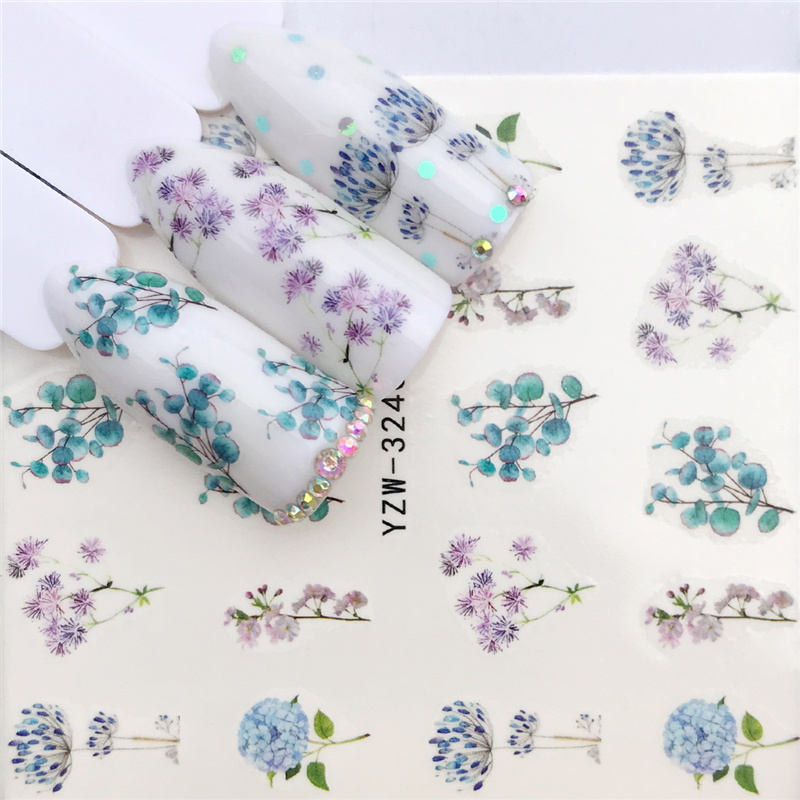 WUF  2019 New Styles Nail Sticker Water Decals Plum / Flower /Pig / Animal / Cartoon Transfer Nail Art Decoration