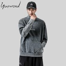 Yasword Denim Loose Vintage Retro Men Casual Jeans Sweatshirt Hoodies Man Outwear Male Tops Pullover