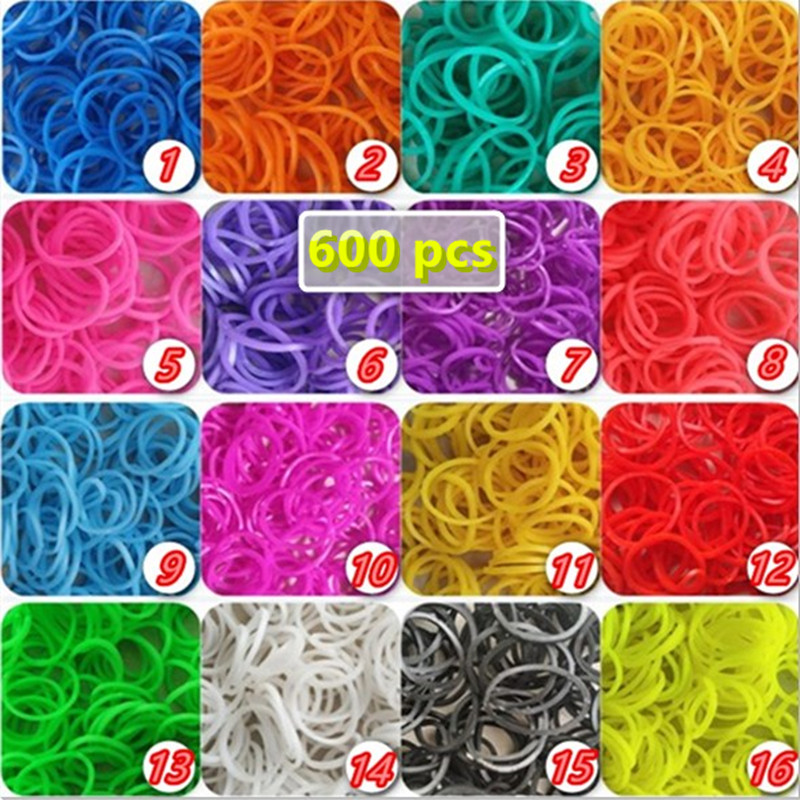 600pcs DIY Rubber Loom Bands Gomas Para Hacer Pulseras Children Girls Gifts Bracelet Make Kids Accessories Jewelry Elastiekjes