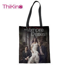 Thikin Fashion The Vampire Diaries Canvas Bag Women Shopping Handbags Portable for Girl  Bags Designer