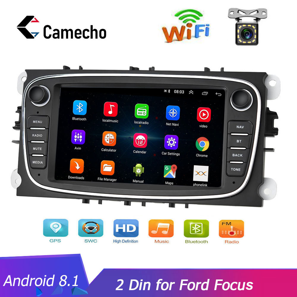 Camecho 2 din 7 Android 8,1 автомобильный Радио gps мультимедийный плеер gps Navi для Ford Focus EXI MT 2 3 Mk2/Mondeo/S MAX/C MAX/Galaxy