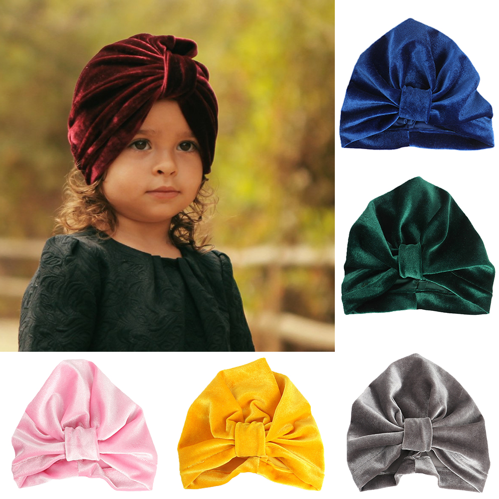 >2019 <font><b>Baby</b></font> Winter Turban Headband <font><b>Kids</b></font> Warm Velvet Indian Beanie Cap Hairband Solid Color Infant Head Wrap Accessories for <font><b>Girls</b></font>