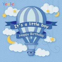 Yeele Blue Hot Air Balloon Backdrop Kids Boy Birthday Party Newborn Baby Shower Photography Background Vinyl For Photo Studio