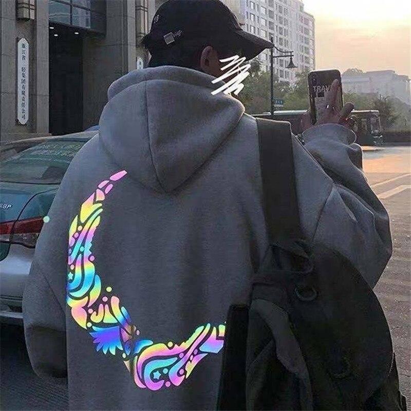 2020 Cool Moon Reflective Hoodie  Streetwear Loose Black Spring Winter Sweatshirts Men Streetwear Japan Cartoo Hoodie Funny Male