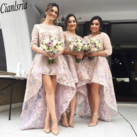 Country Style High Low Pink Lace 2020 Bridesmaid Dresses Wedding Party Guest Gowns Jewel Neck Half Sleeve Maid Of Honor Dress