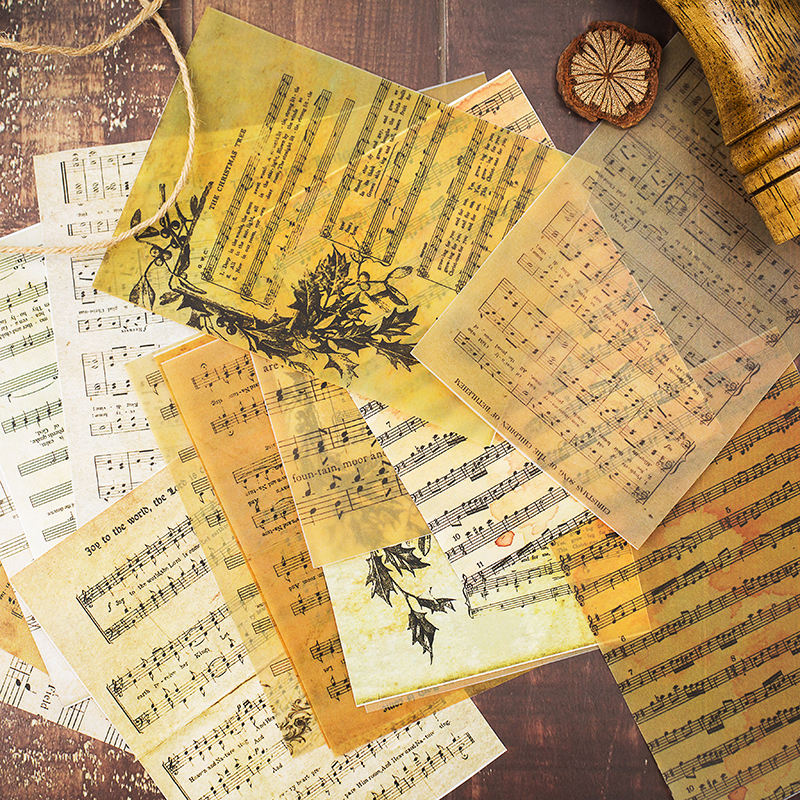 16pcs/Set Vintage English Music Sheet Vellum Paper Pattern Pack For Scrapbooking Happy Planner Card Making Junk Journal Project
