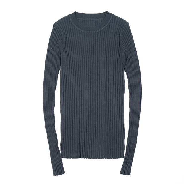 Women Sweater Pullover Basic Ribbed Sweaters Cotton Tops Knitted Solid Crew Neck With Thumb Hole 3