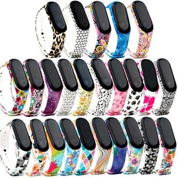 39 Colorful Soft Silicone mi band 5 4 3 Flower Printed wrist strap Strap Watchband for xiaomi Sports bracelet Bracelet