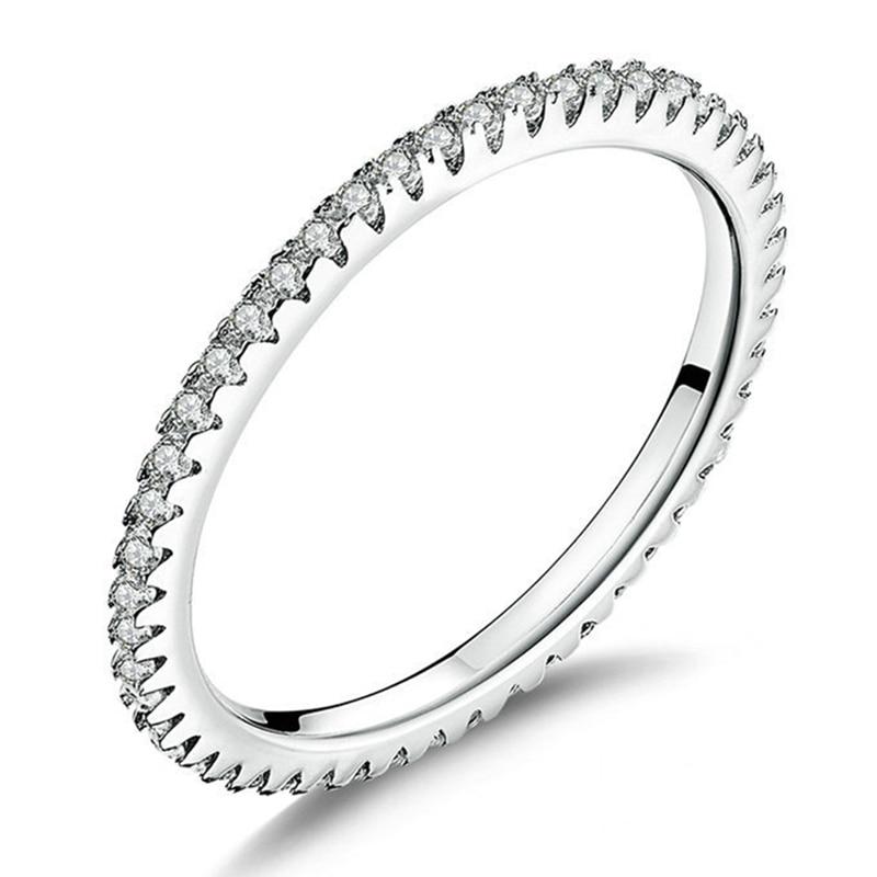 Minimalist S925 Sterling Silver Ladies Fashion Ring Crystal Ladies Simple Ring