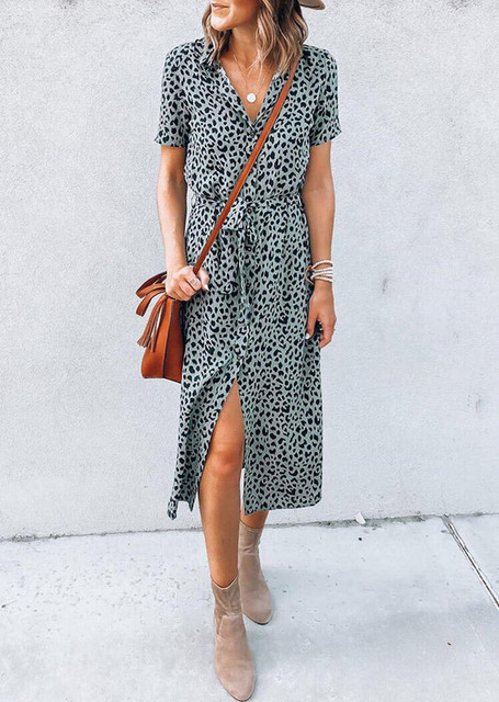 Leopard Slit V-Neck Casual Dress without Necklace 2020 woman dress plus size women clothing New bodycon dress y2k Clothes Female 2