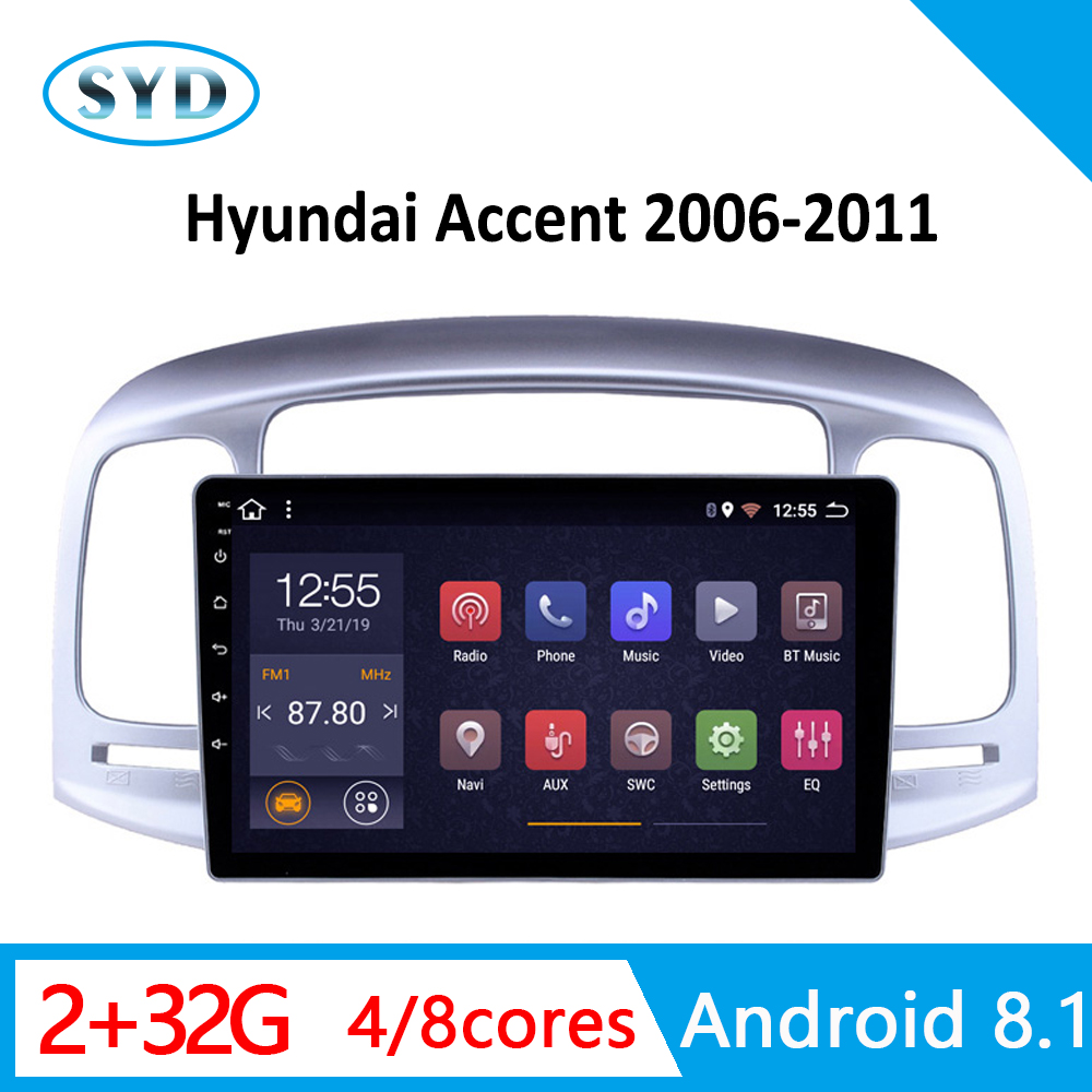 car central video for <font><b>Hyundai</b></font> <font><b>Accent</b></font> DVD player 2006 2007 2008-2011 <font><b>GPS</b></font> navigator 1 din Android 8.1 AM RDS WIFI rear view camera image
