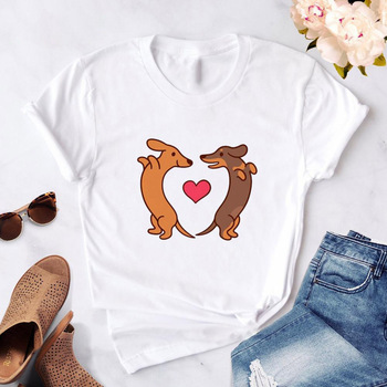 Dachshund kawaii streetwear tees Women T-Shirt Summer Fashion dog graphic T Shirts Female Harajuku Short Sleeve Girl T Shirt недорого