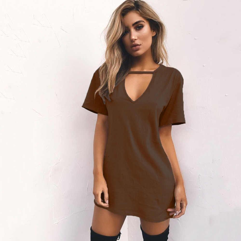 Verão feminino tshirt mini vestido de manga curta sexy triângulo oco halter vestido casual profundo com decote em v solto boho praia vestido