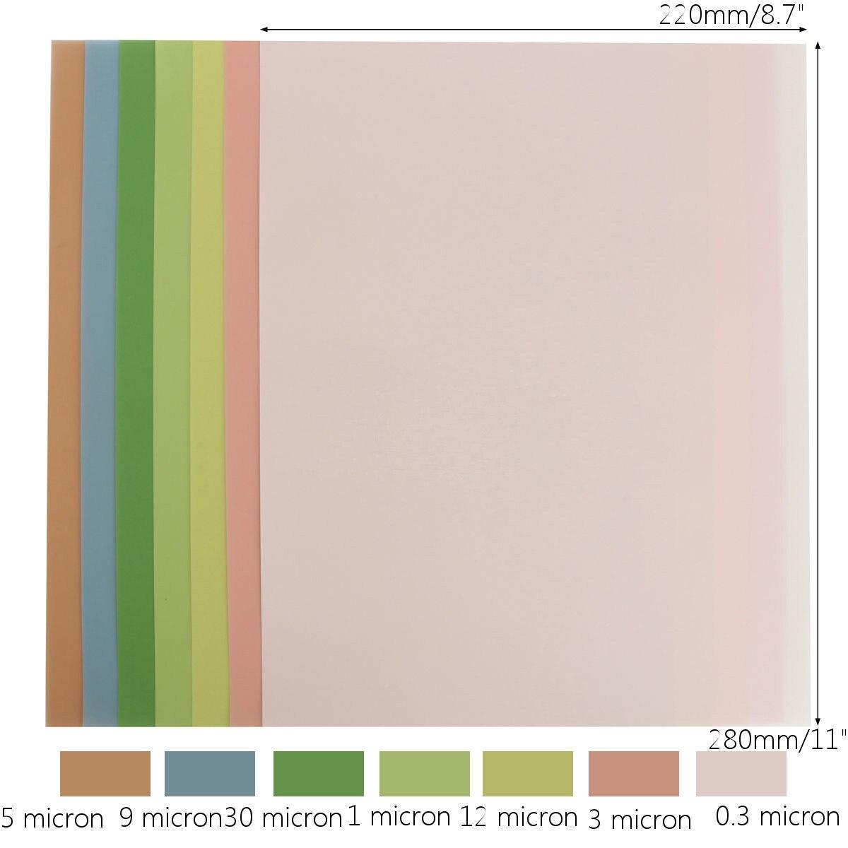 Fine Polishing 7PCS Colorful  Lapping Film Sheets 1500-12000 Grits Abrasive Tool