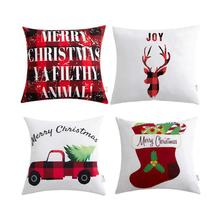 4Pcs 2019 New Christmas Deer Printed Pillowcase Gifts Cotton Pillow Cover Home Bedroom Xmas case