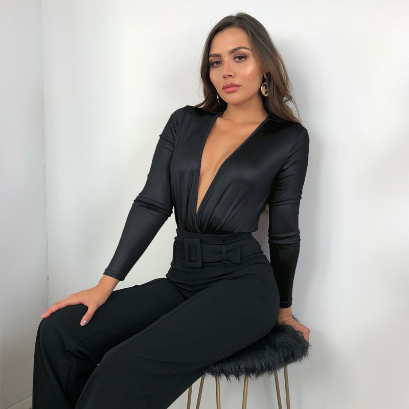 Женская одежда OWLPRINCESS, новинка, Черное Кожаное боди с глубоким v-образным вырезом, с сеткой, с длинным рукавом, обтягивающие боди, одежда, женс...