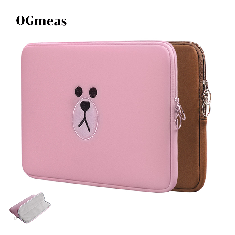 Laptop Bag 11 13 15.6 Inch For Macbook Air Pro 11 13 15  Tablet Case Cartoon Bag Sleeve Computer Pocket Cute Brown Pink Bear