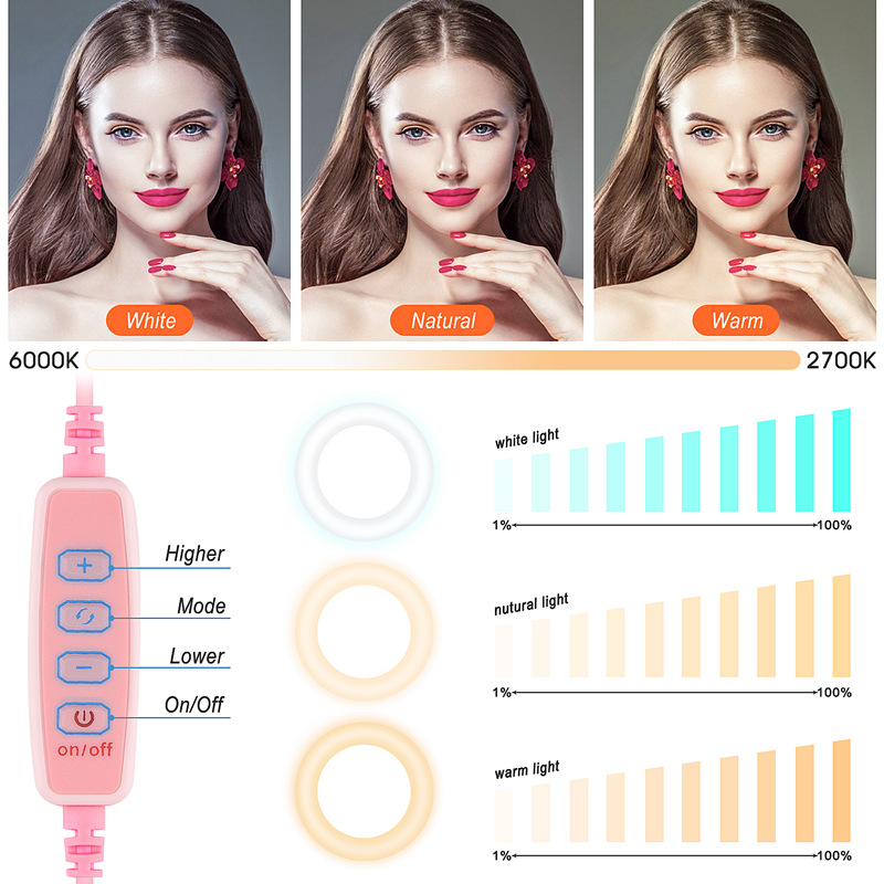 cheapest 9inch Phone Holder Rotating Dimmable RGB LED Ring Light For Selfie Live Studio Remote Control With Stand Portable Photography