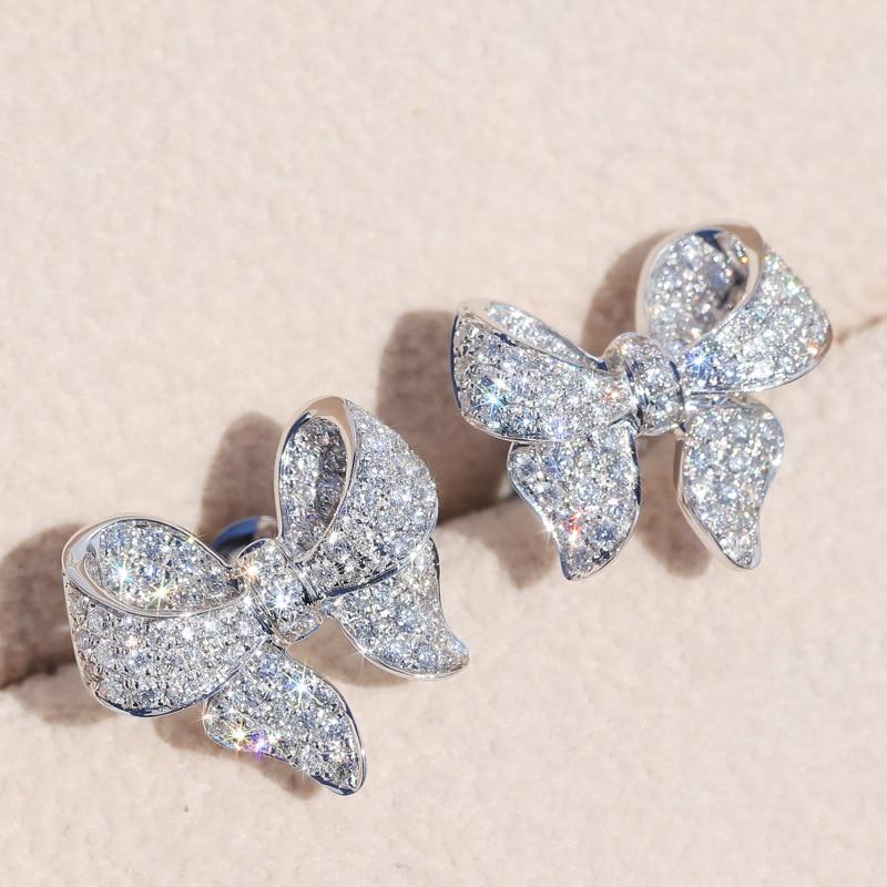 Huitan Romantic Bowknot Women Stud Earrings Full Paved Shiny Crystal Zircon Delicate Girl Accessories Fashion Earrings Jewelry