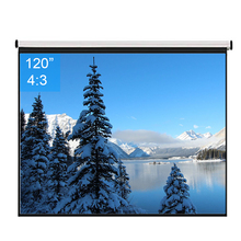 120inch 4:3 Wall Mounted Matte White Fabric Fiber Glass Pull Down HD Screen Canvas LED Projector Screen For Home Theater